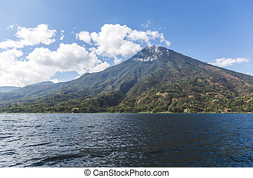 Clouds Over Volcanic Mountain at Lake Atitlan