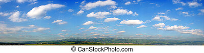 Clouds panorama - Background Of Sky and Grass - wide view