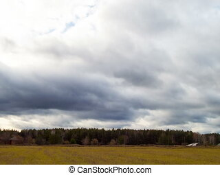 Clouds quickly rush on the sky. Time Lapse. 4x3