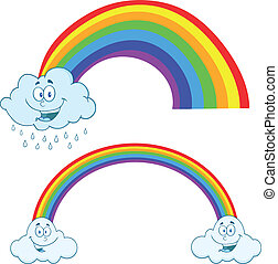 Clouds Raining With Rainbow