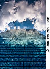 Clouds reflecting in the John Hancock Building in Boston, Massac