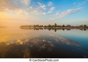 Clouds reflecting in the lake, Ukraine.