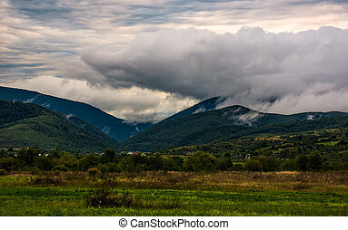 clouds rise in mountains on overcast morning. lovely...