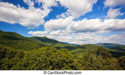 Clouds Roll Past Scenic Mountains of Blue Ridge Parkway in Asheville, North Carolina
