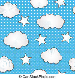 Cute clouds and stars seamless pattern