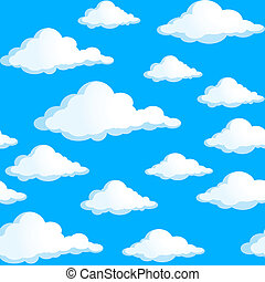 Clouds - Seamless texture of clouds. Illustration on blue...