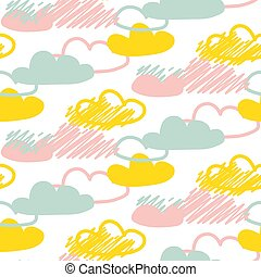 Clouds seamless vector baby pattern.