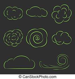 Clouds set line icons vector illustration