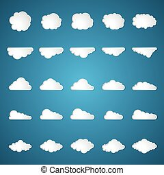 clouds set on blue background