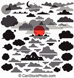 clouds set vector  icons