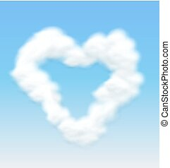 Clouds Shaped Heart Border Blue Sky