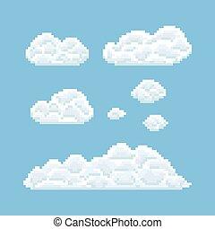 Clouds shapes set. Pixel art 8 bit texture illustration
