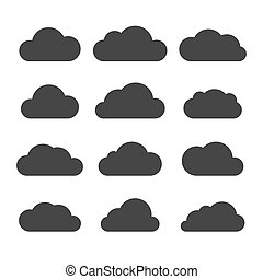 Clouds Silhouettes Set on White Background. Vector