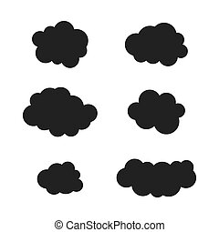Clouds silhouettes. Vector black cloud icons set.