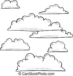 Clouds sketch - Doodle style clouds or weather vector ...