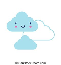 clouds sky kawaii comic character flat style