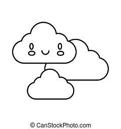 clouds sky kawaii comic character line style