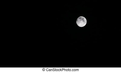 Clouds slowly moving in front of the moon (Night scene, selective focus, black sky)