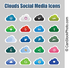 Clouds Social Media Icons 2