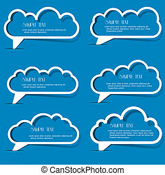 Clouds speech bubbles from paper outline