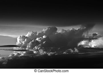 Clouds stacked black and white