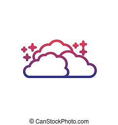 clouds star fantasy line gradient icon