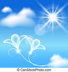 Clouds, sun and transparent flowers in the blue sky