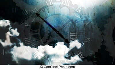 Clouds time lapse and clocks grunge