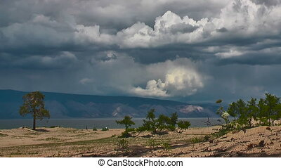 Clouds timelaps. Olkhon island Baikal, Siberia.