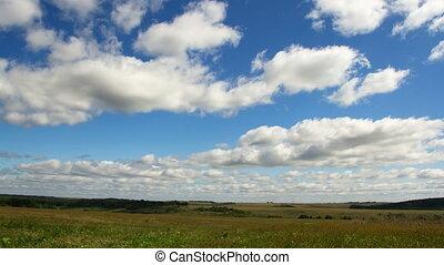 Clouds timelapse, summer landscape