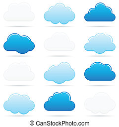 twelve different cloud shapes on white