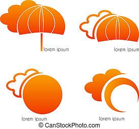 Clouds, umbrella and sun