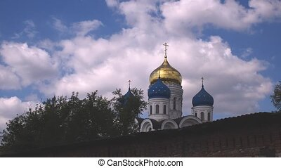 clouds under orthodox church, timelapse