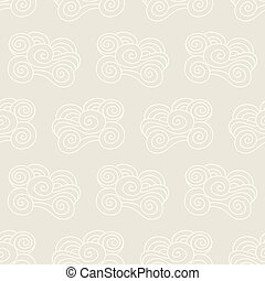 Clouds, waves seamless pattern