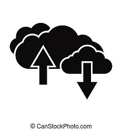 Clouds with arrows black simple icon