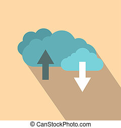 Clouds with arrows flat icon
