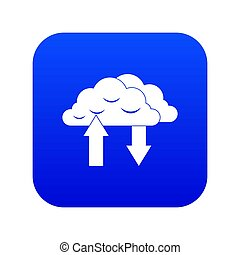 Clouds with arrows icon digital blue