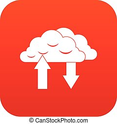 Clouds with arrows icon digital red