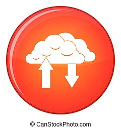 Clouds with arrows icon, flat style
