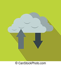 Clouds with arrows icon in flat style