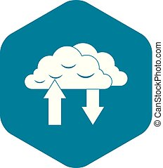 Clouds with arrows icon in simple style