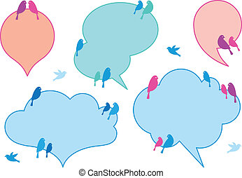 clouds with birds, vector set