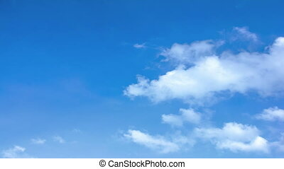 Clouds with blue sky. Time lapse video motion 4K