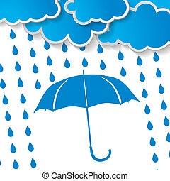 clouds with blue umbrella and rain