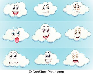 Clouds with facial expressions