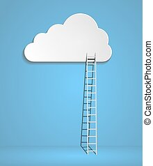 clouds with ladders on blue