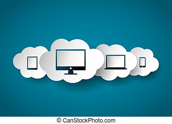 Clouds with modern gadgets