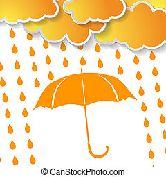 clouds with orange umbrella and rai