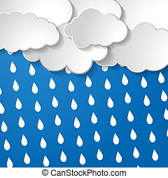 clouds with rain drops on a blue ba