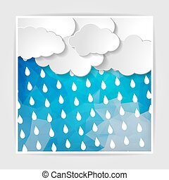 clouds with rain drops on the Abstract blue geometric background